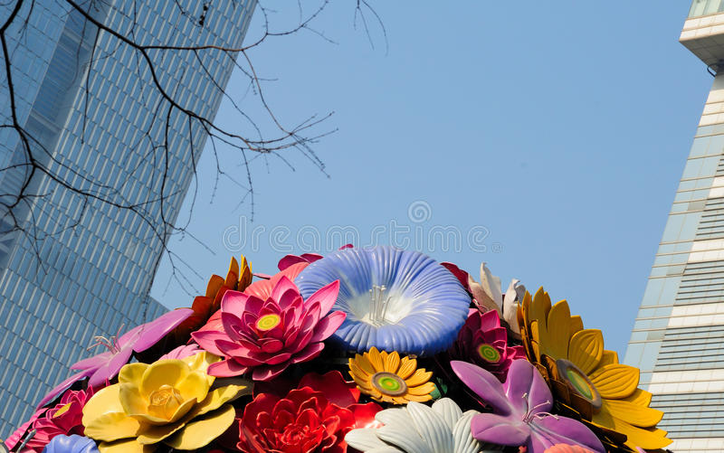 Floral Display Nanjing China. A flower sculpture display near a modern office building in the city of Nanjing China in Jiangsu province royalty free stock photography