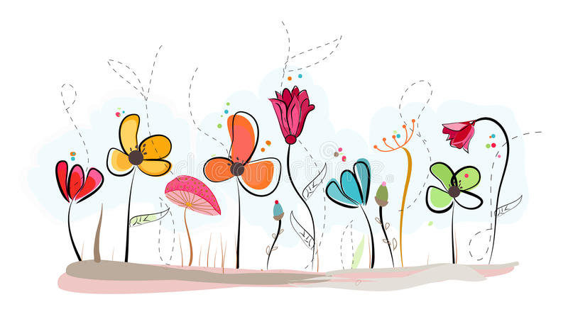 Floral doodle abstract colorful flowers vector background stock illustration