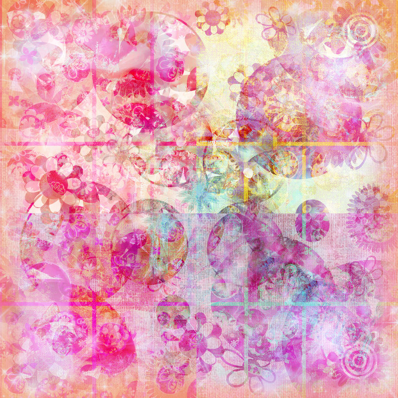Floral doodle watercolor sparkle background royalty free illustration