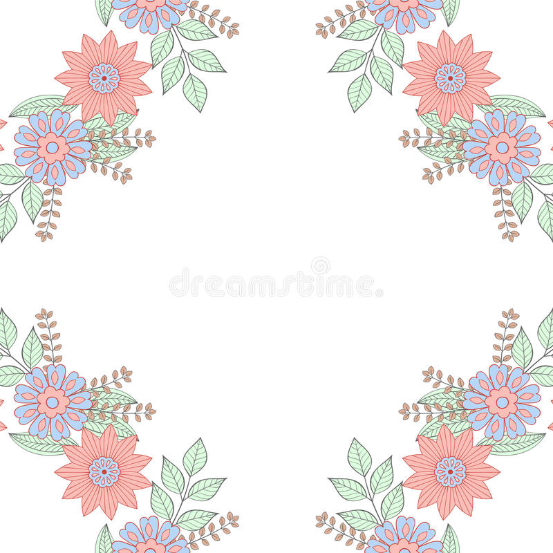 Floral doodles wreath frame in zentangle style. Spring flowers. vector illustration