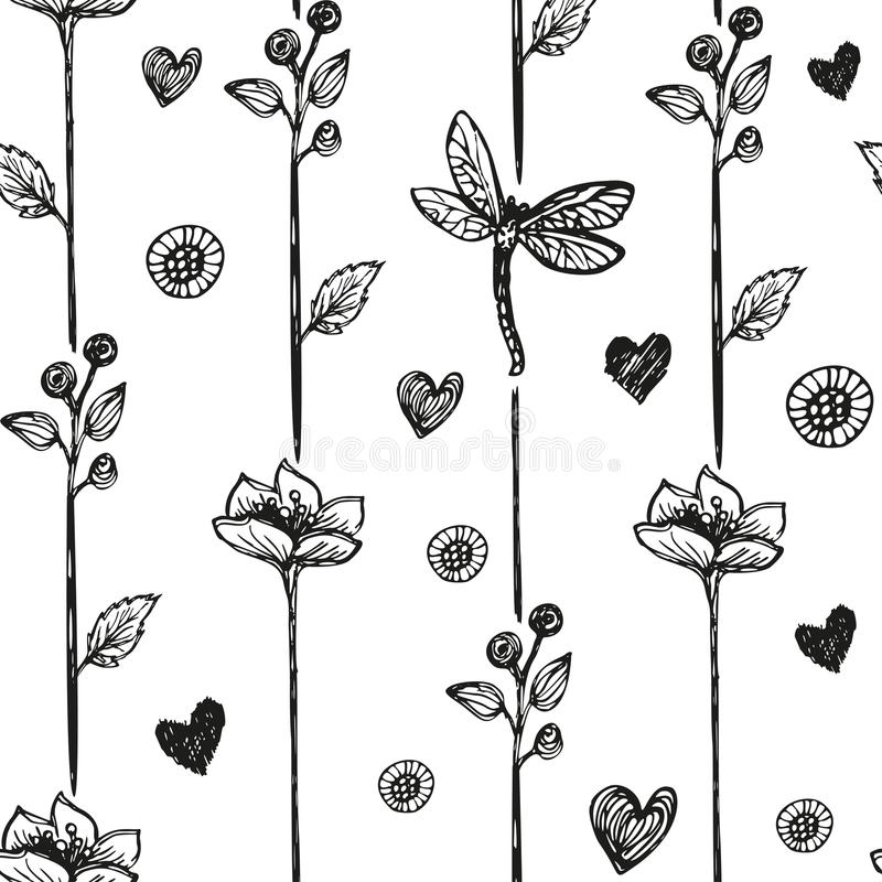 Floral dragonfly abstract background, seamless. Vector illustration stock illustration