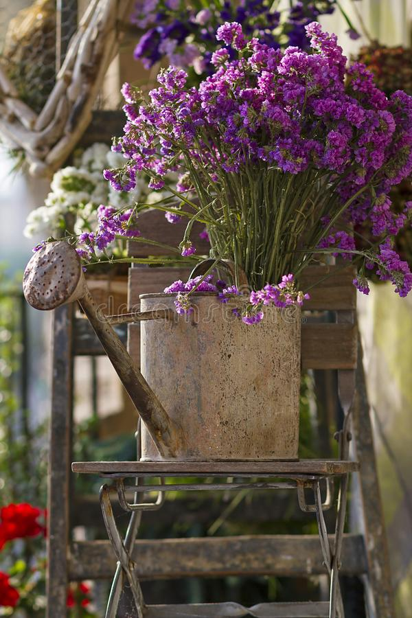 Floral and driftwood decoration crafts. In a urban garden stock photo