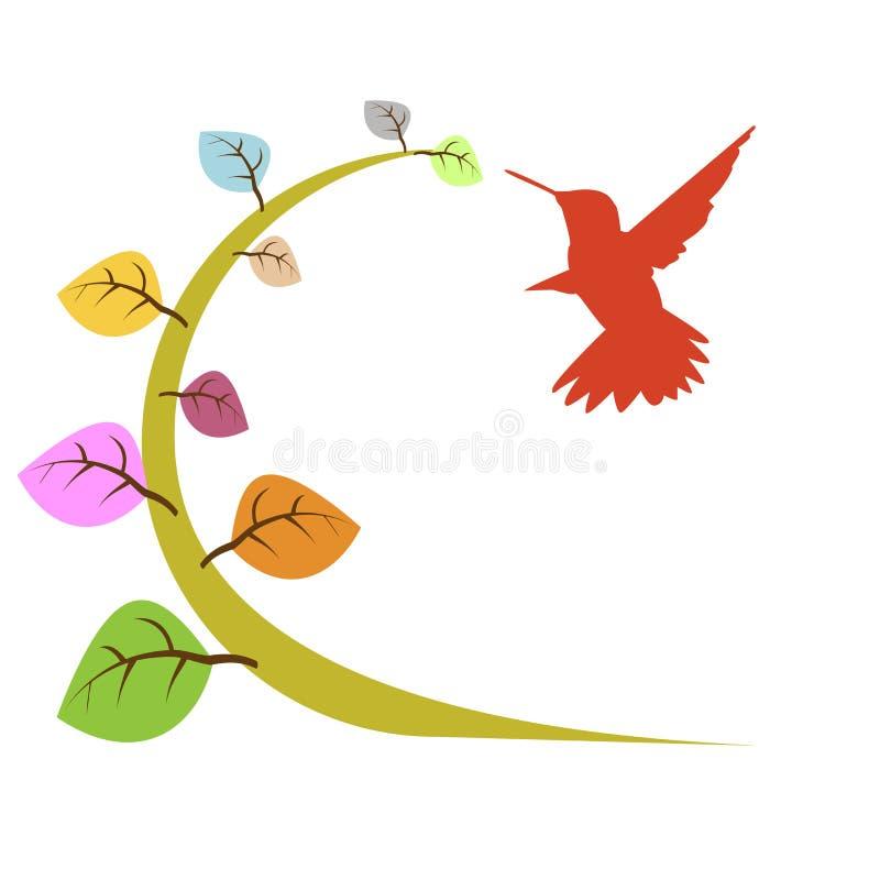 Floral e pássaro ilustração stock