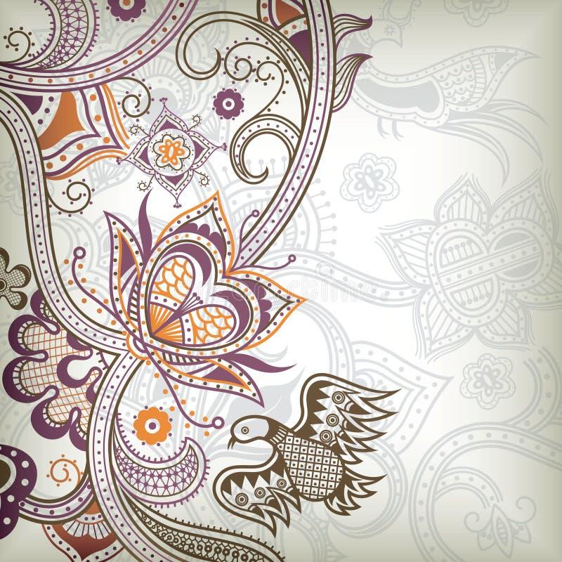 Floral e quetzal ilustração do vetor