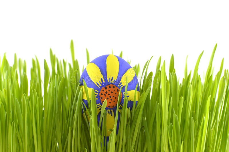 Floral Easter egg in grass stock image