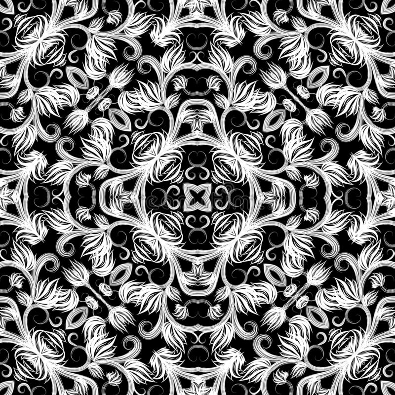Floral elegance black and white vector seamless pattern. Ornamental monochrome vintage background. Repeat decorative royalty free stock photos