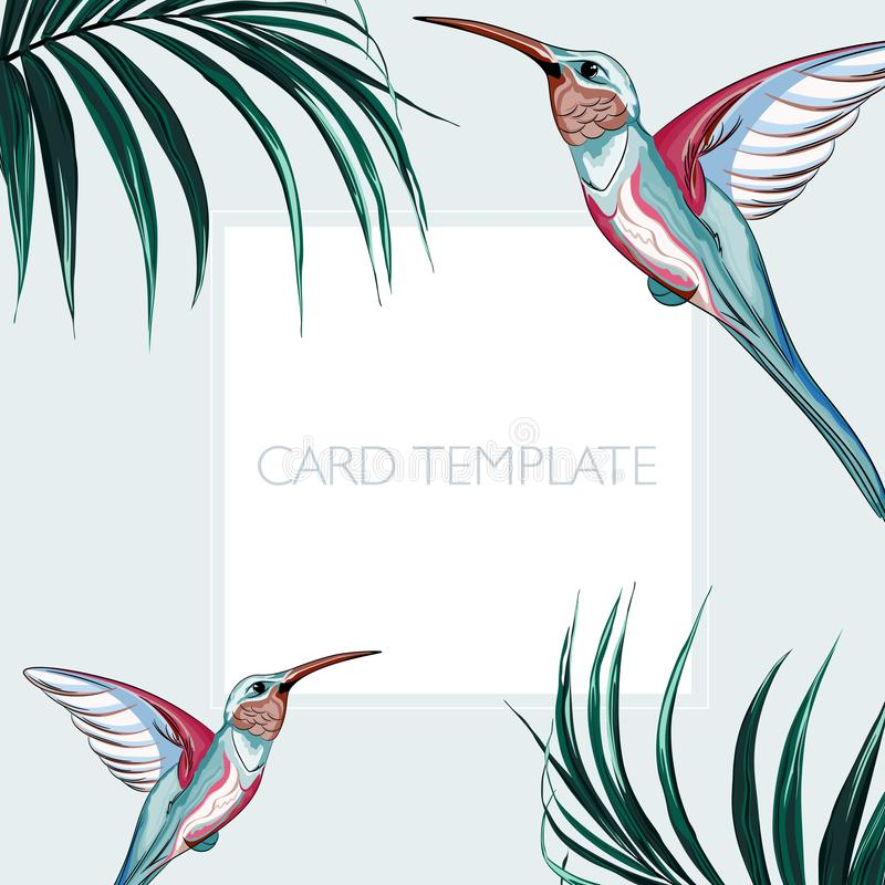 Floral elegant invite card design: tropical palm leaves and paradise pink birds. Can be used as invitation card for wedding, birthday and other holiday and vector illustration