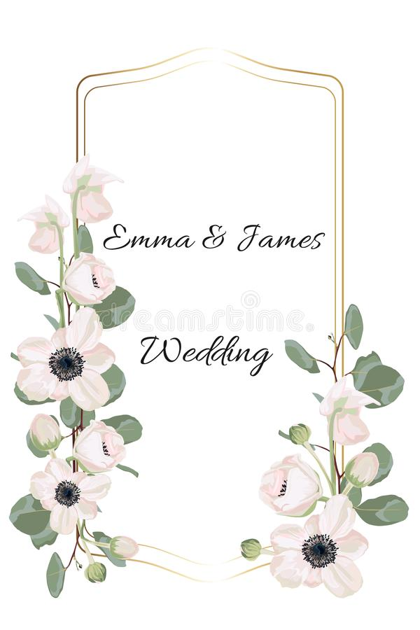 Floral elegant invite card gold frame design: garden flower pink Anemone, tender greenery. royalty free illustration
