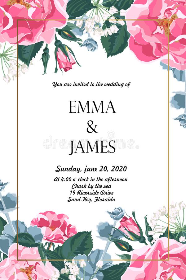 Floral elegant invite card gold frame design: garden flower pink dog roses, tender greenery. royalty free illustration