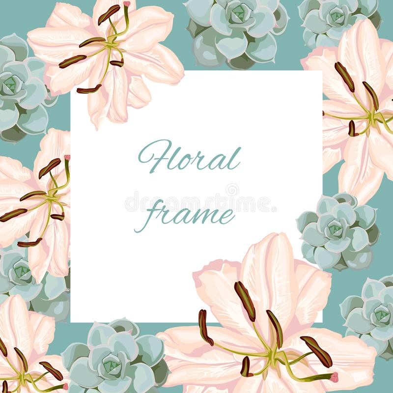 Vintage vector frame with summer spring flowers in pastel colors. stock illustration