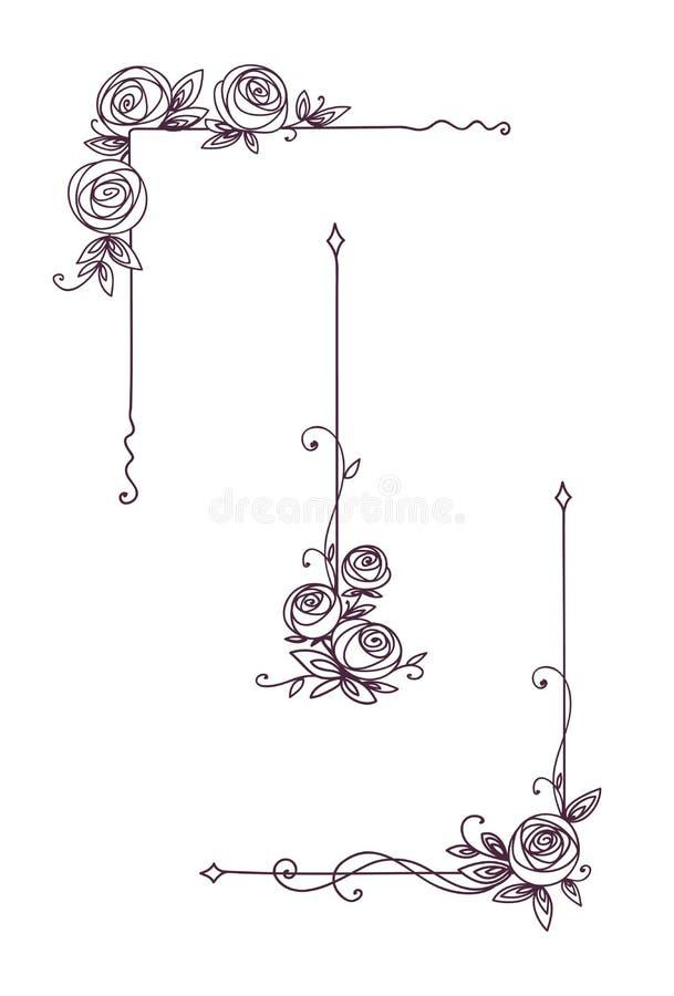 Cover Up Rose Outline: Floral Elegant Patterns Black And White. Cover Page Design