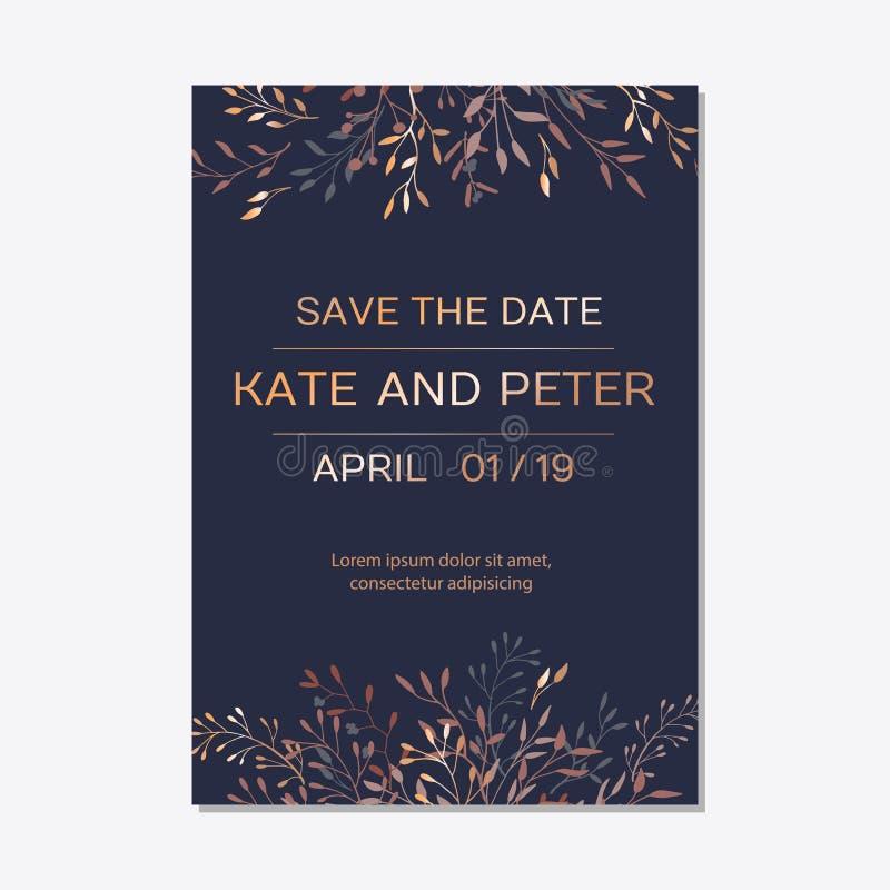 Floral elegante de cobre convida o cartão moderno do grupo ilustração stock