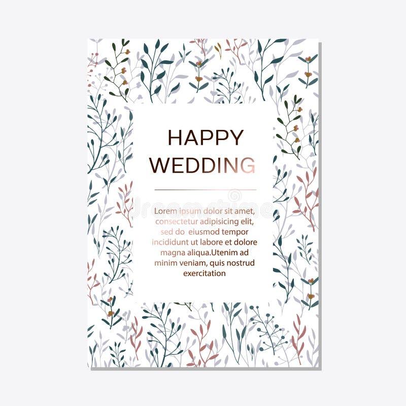 Floral elegante de cobre convida o cartão moderno do grupo ilustração do vetor