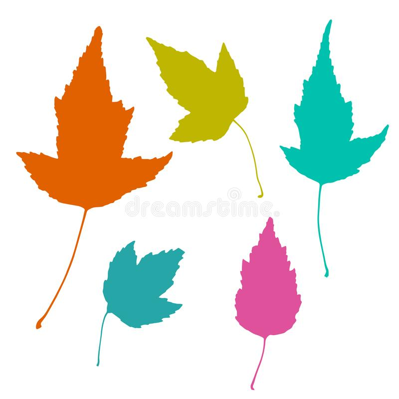 Colorful set of realistic floral elements. Tree leaves silhouettes. stock illustration