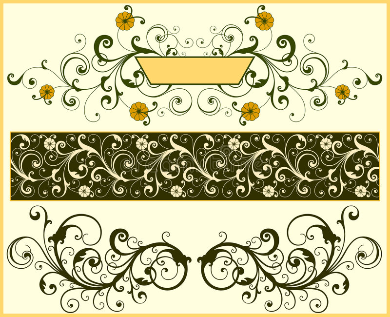 Floral elements stock illustration