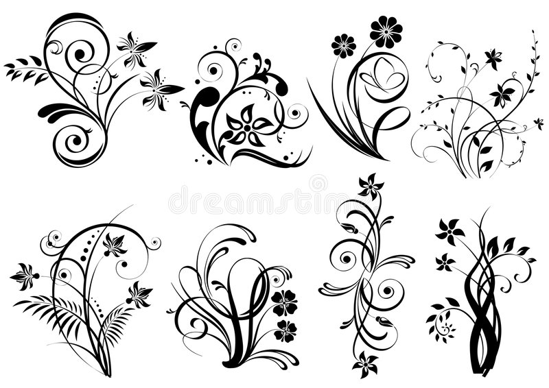 Download Floral elements stock vector. Image of emblem, foliage - 8874134