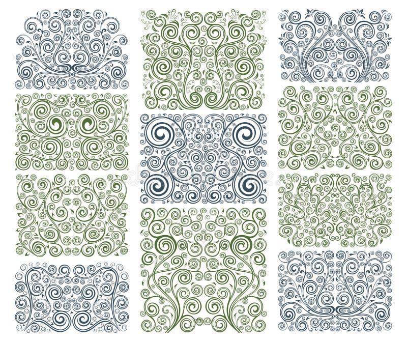 Floral elements. Set of eleven vector floral elements royalty free illustration