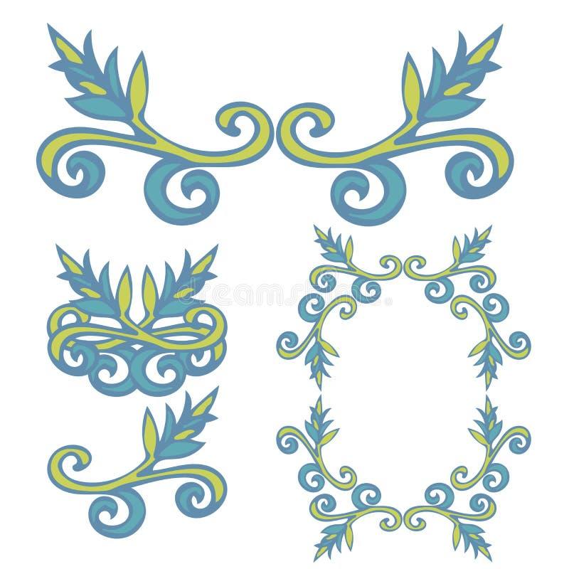 Set of hand drawn curly doodle floral design elements vector illustration