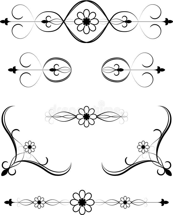 Floral Embellishment. A vector floral embellishment to add flair to your project stock illustration