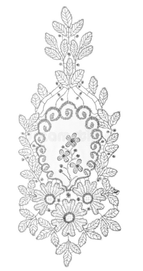 Floral Embroidered Lace Fabric Trim, Cloth Flowers White Isolated. Floral Embroidered Lace Fabric Trim, Cloth Flowers Isolated over White Background stock photo