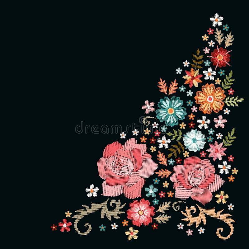 Floral embroidery. Composition with beautiful flowers. Template for greeting and invitations cards with place for text.  stock illustration