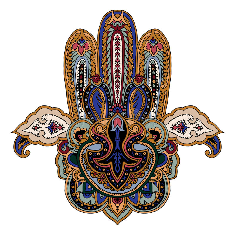Paisley hamsa symbol. Luxurious paisley composition. Stylized vector image of hamsa hand. Traditional symbol of Middle East, India, Northern Africa isolated on vector illustration
