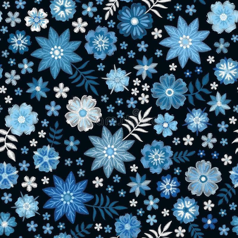 Floral embroidery pattern. Seamless print. Blue and white winter flowers on black background. Fresh embroidered design. vector illustration