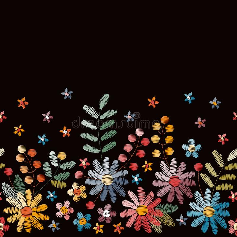Floral embroidery. Seamless embroidered border with flowers, leaves and berries on black background. stock illustration
