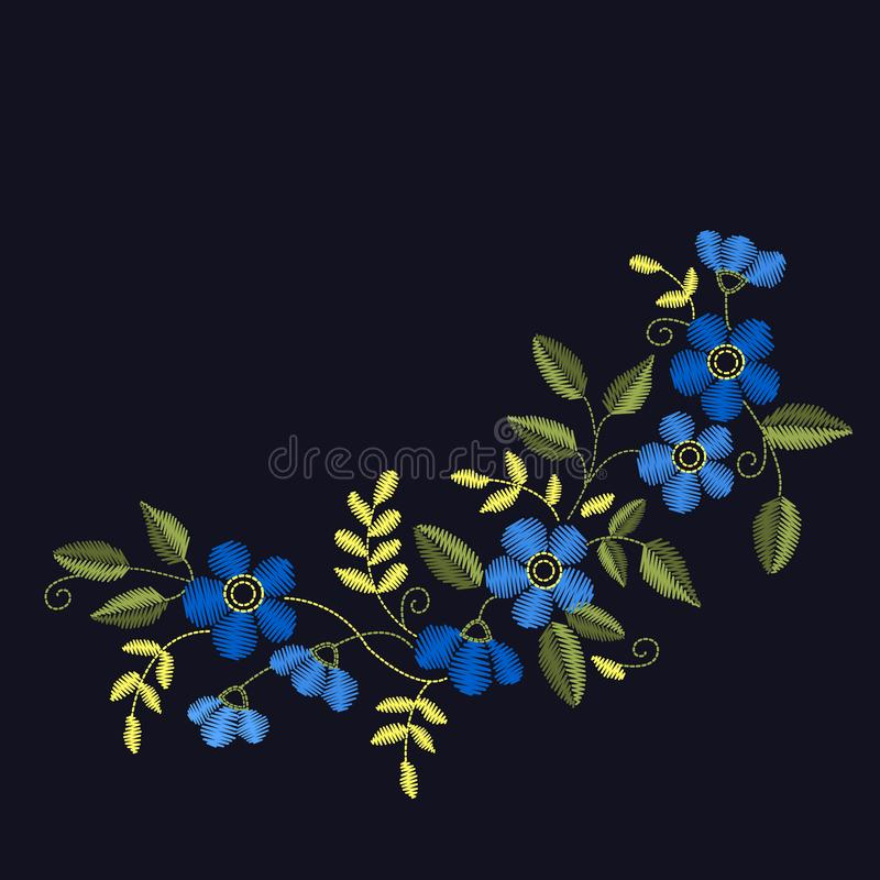 Floral Embroidery set for your design, cards, prints, fabrics. V. Floral Embroidery set with blue flowers for your design, cards, prints, fabrics. Vector stock illustration