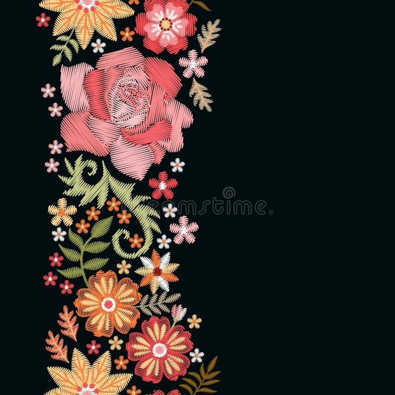 Floral embroidery. Vertical seamless line with pretty flowers on black background. Romantic template royalty free illustration