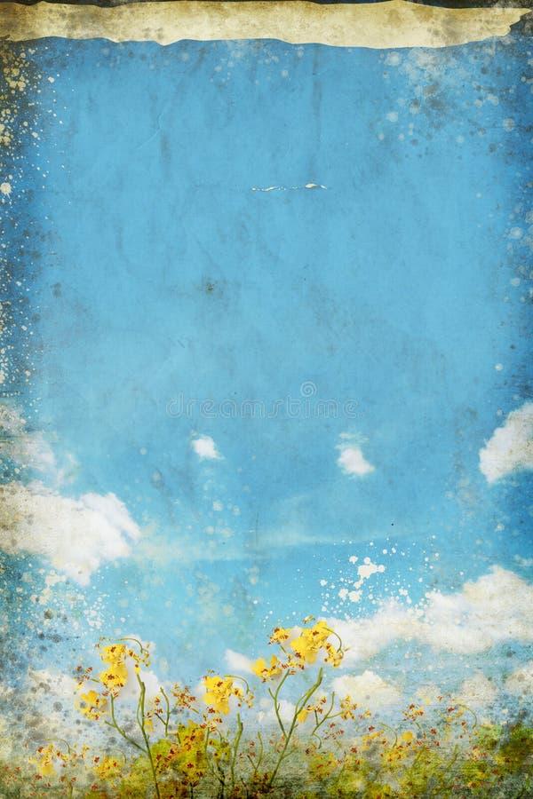Floral en cielo azul y nube en el papel viejo stock de ilustración