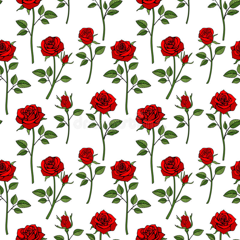 Floral english victorian seamless background. Garden rose pattern royalty free illustration