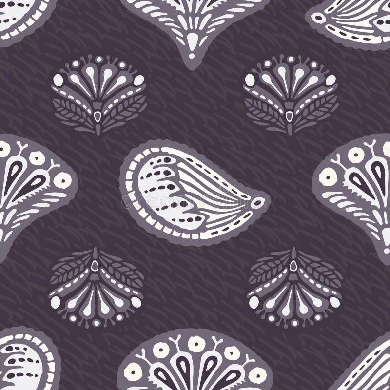 Floral ethnic leaf paisley style seamless pattern. Folk art indian boteh buta motif leaves textile. Modern fashion home decor. stock illustration