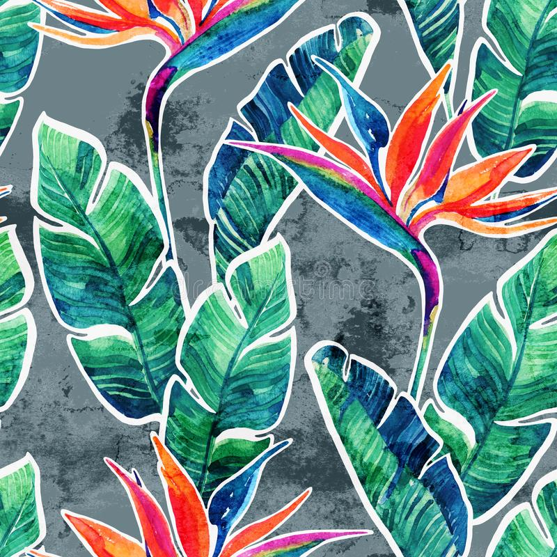 Floral exotic seamless pattern. Watercolor tropical flowers on doodle background. Floral exotic seamless pattern. Watercolor tropical flowers on grunge royalty free stock photography