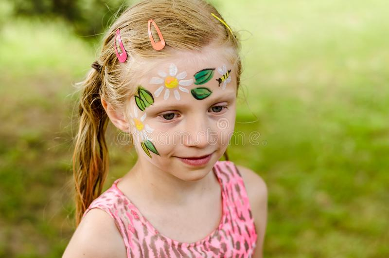 Floral face painting royalty free stock photos