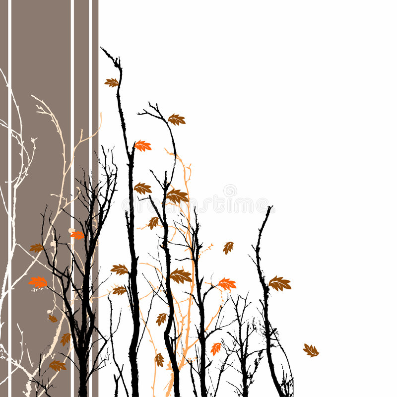 Floral Fall Background. A background image with fall colored leaves and bare branches