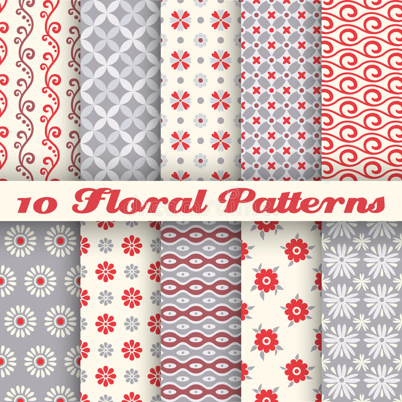 10 Floral fashionable vector seamless patterns (tiling) royalty free illustration