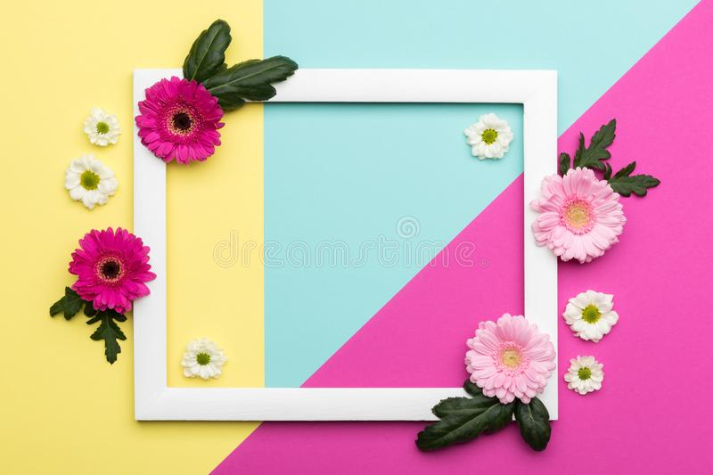 Floral flat lay Happy Mother`s Day, Women`s Day, Valentine`s Day or Birthday background. Happy Mother`s Day, Women`s Day, Valentine`s Day or Birthday Pastel stock image