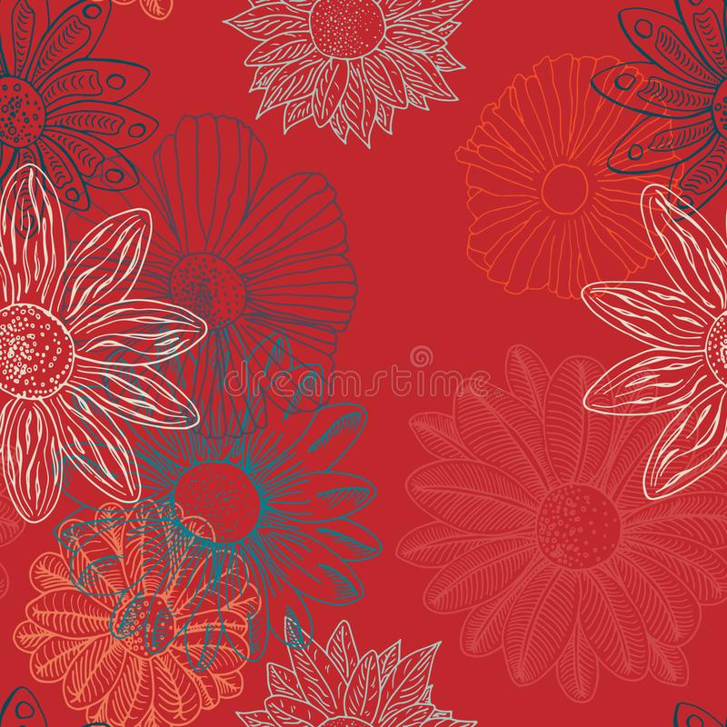 Floral Flower Funk vs Bizarro Blood Orange. Hand drawn seamless repeat pattern of various detailed flowers. Overlaping onto a bright bold blood orange background royalty free illustration
