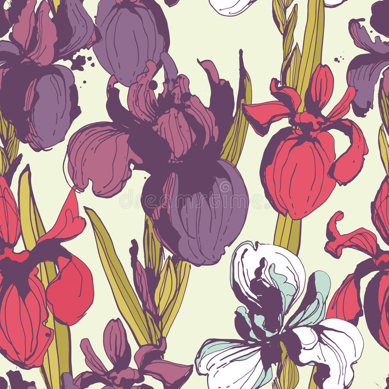 Floral flower iris seamless hand drawn pattern.Colored ink splat. Vector illustration Floral flower iris seamless hand drawn pattern.Colored ink splatter grunge vector illustration