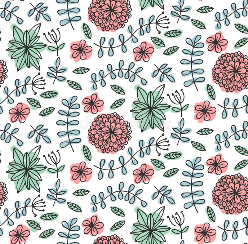 Floral flowers leafs doodle seamless vector pattern stock illustration