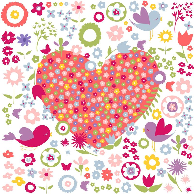 Floral, flowers red heart postcard stock illustration