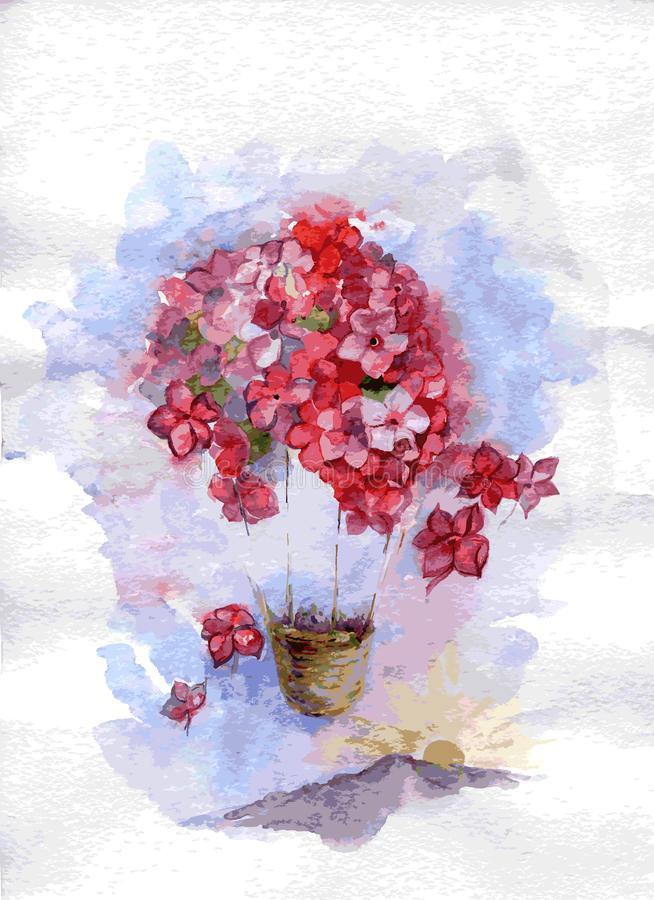 Floral fly watercolor. Flower baloon in the sky. vector stock illustration