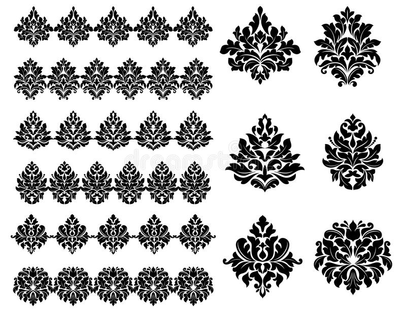 Floral and foliate design elements. Collection of black silhouetted floral and foliate design elements as arabesques royalty free illustration