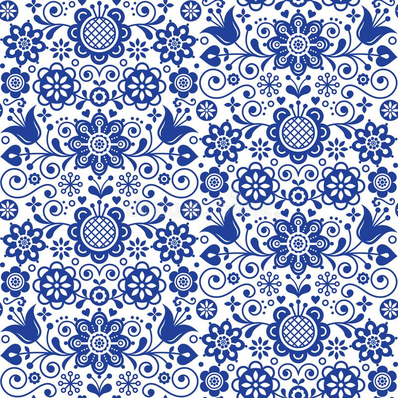 Floral folk art greeting card, design elements, Scandinavian style decor with flowers and leaves, retro blue floral compositions royalty free illustration