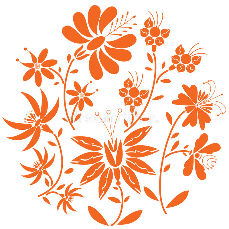 Floral folk pattern in circle containing set of orange- red color flowers stock illustration