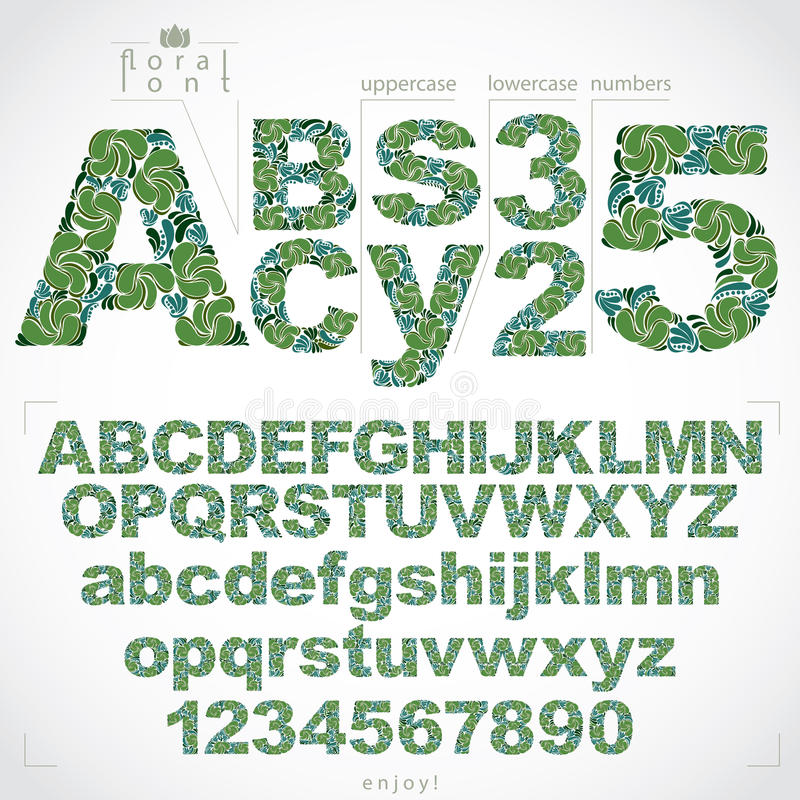 Floral font and numbers, hand-drawn vector alphabet letters decorated with botanical pattern. Ornamental typescript and vector illustration