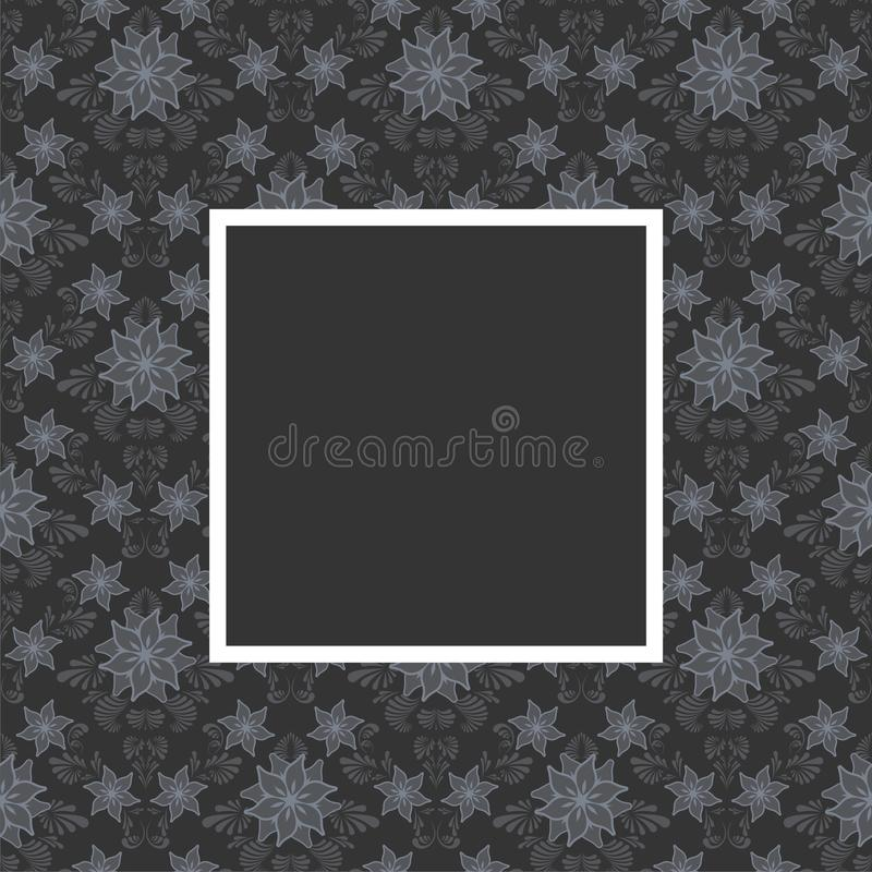 Floral frame. Seamless floral pattern with frame in gray color stock illustration