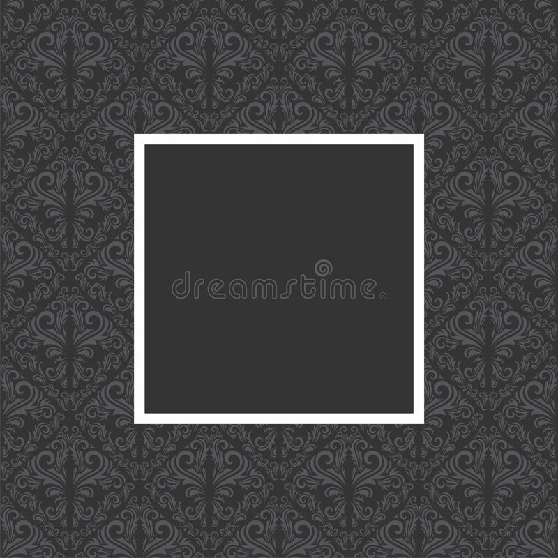 Floral frame. Seamless floral pattern with frame in gray and black color stock illustration