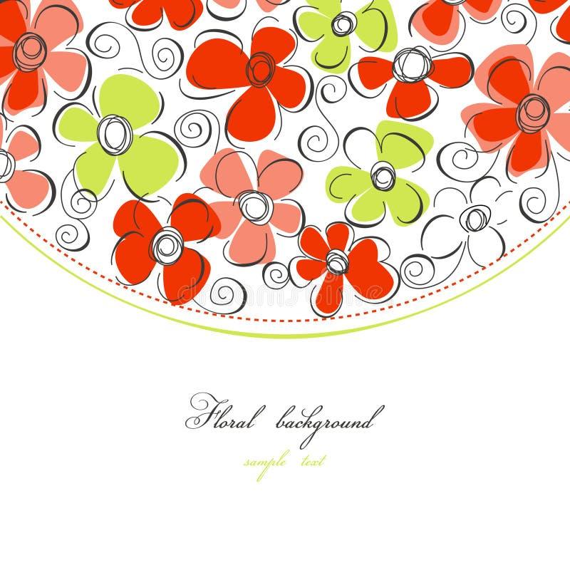 Floral frame. Colorful floral border over white stock illustration